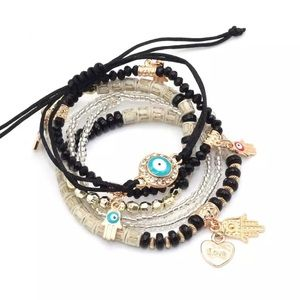 New 6 Piece Hamsa Bracelet Set